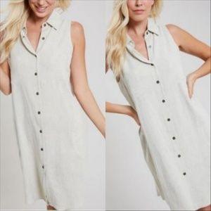 Adrienne Vittadini Almond Dream Linen Shift Dress